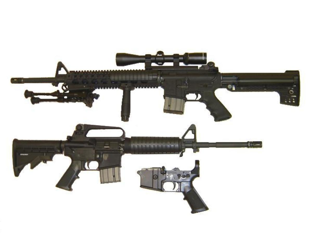 AR with after-market fixed stock (top) and M-4 type adjustable stock (bottom).