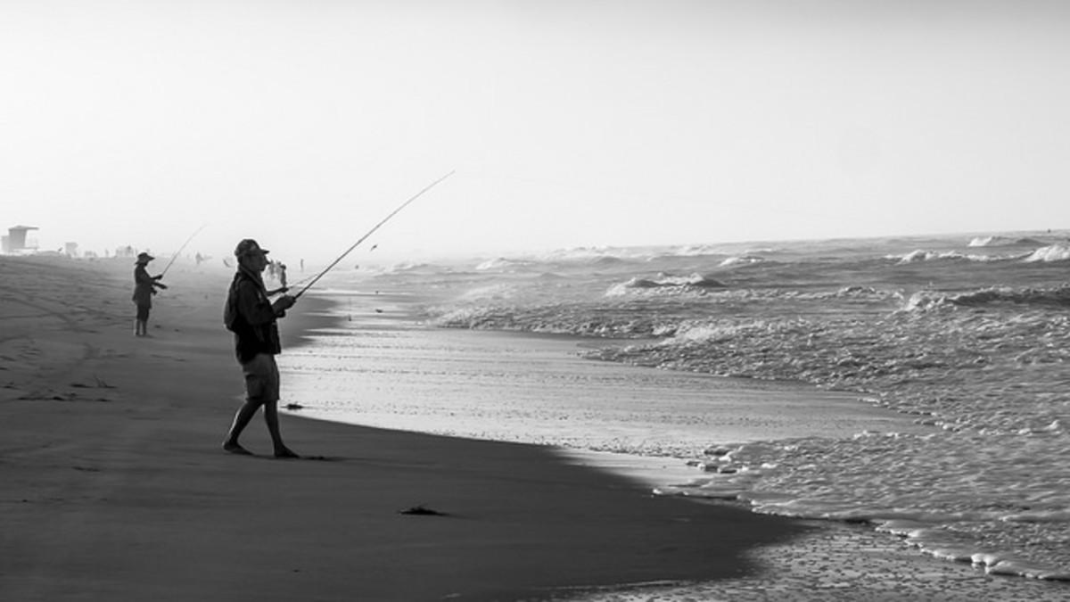 Large-spooled saltwater fishing reels make excellent surf casting set-ups.
