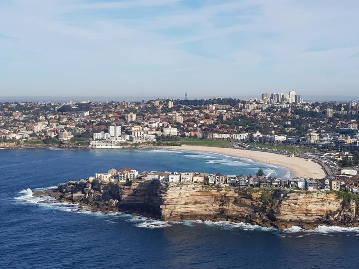Flying past Bondi heads.