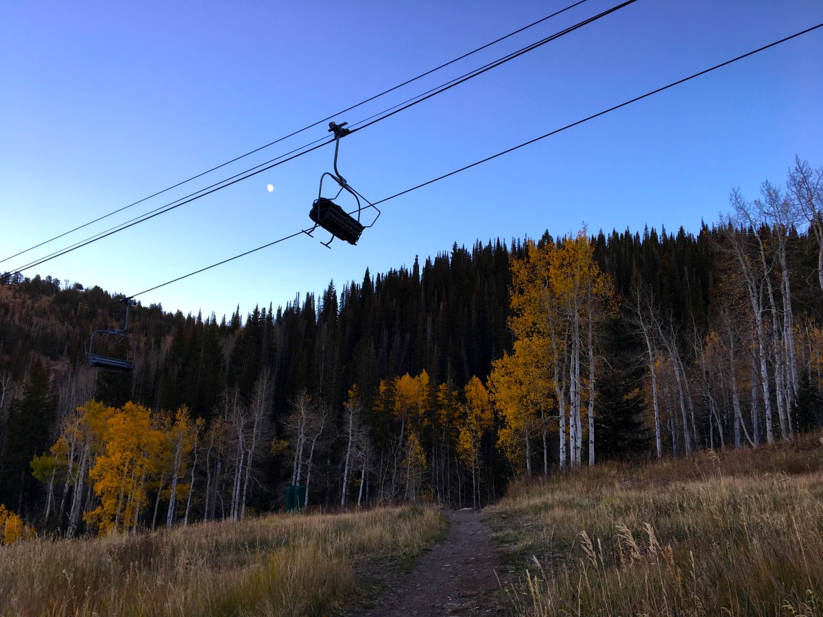 A ski lift hangs frozen waiting for the first big storm of the season