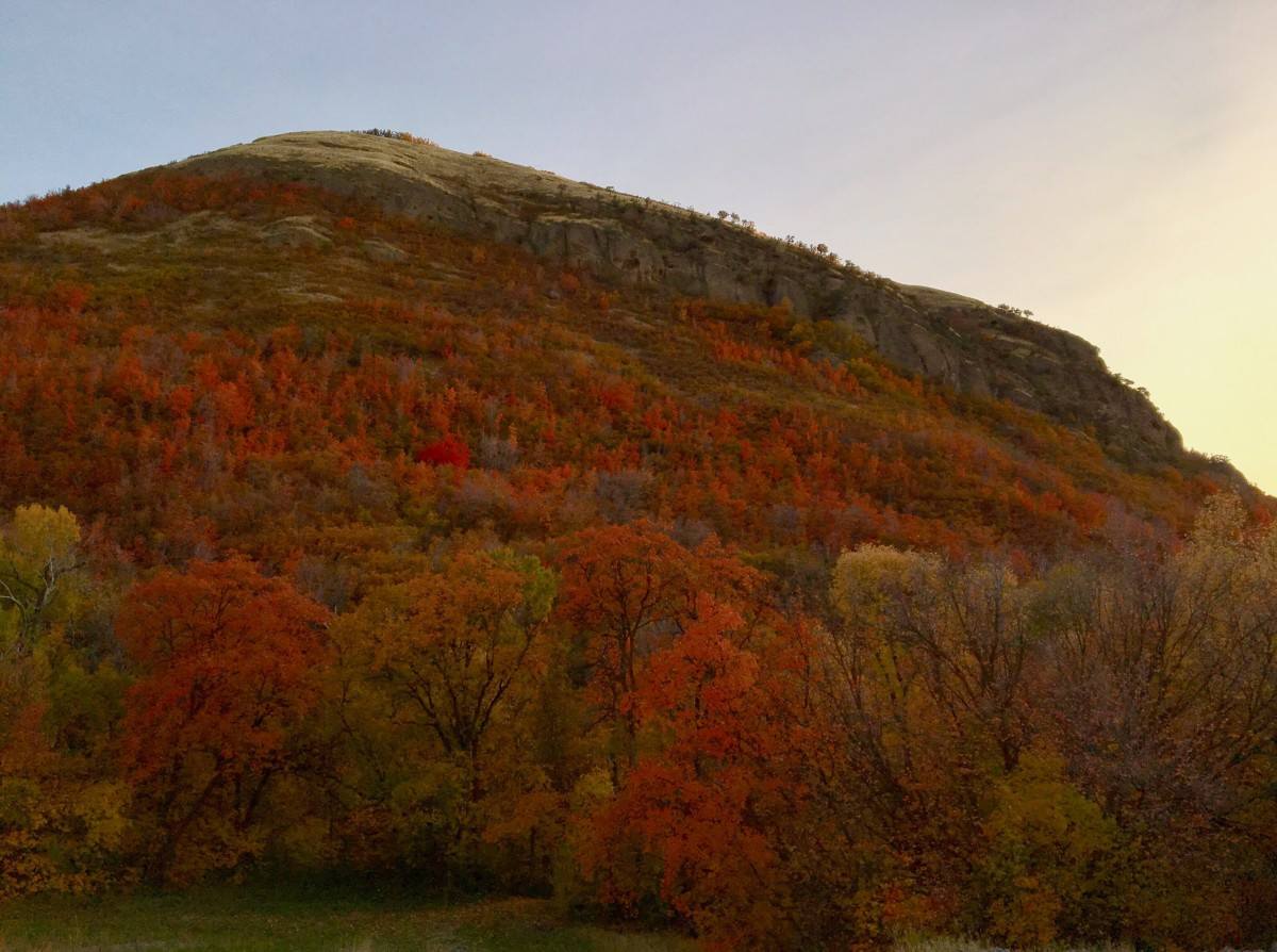 The colors popping on the side of the mountain as the sun sinks beneath