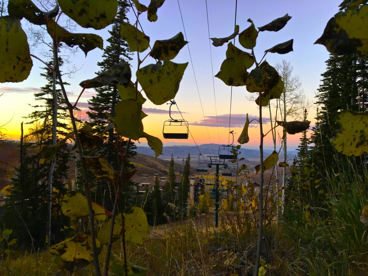 A view of the fall sunset from the Mid-Mountain Trail