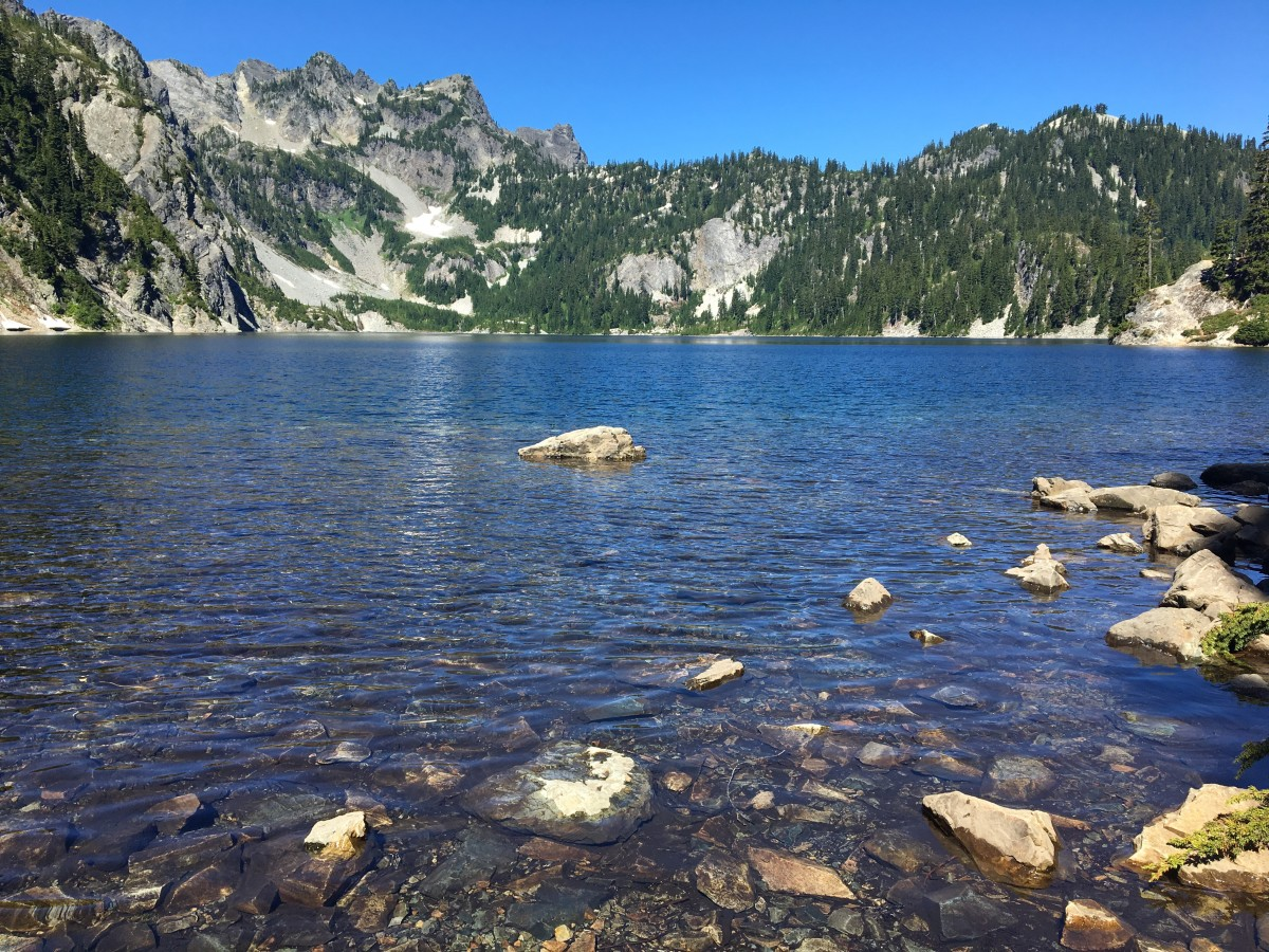 Snow Lake is beautifully nestled up in the mountains of the Snoqualmie Forest area.