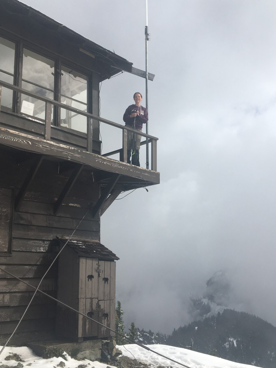 Tolmie Peak Fire Lookout surrounded by clouds