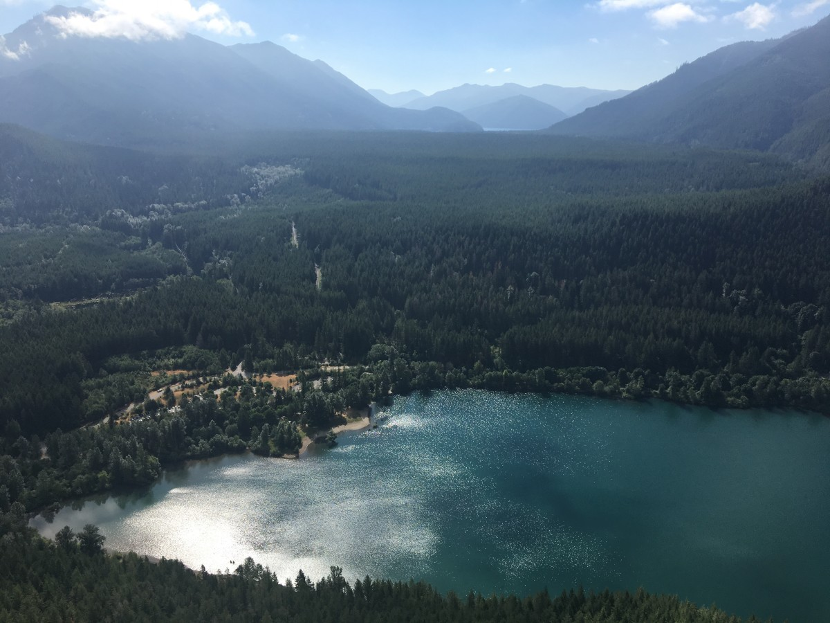 The view of Rattlesnake Lake from up on the ledge