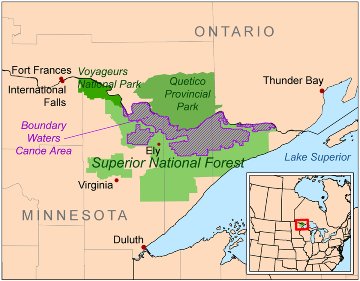 The Kekekabic Trail is mostly located within the Boundary Waters Canoe Area Wilderness, in the Superior National Forest.