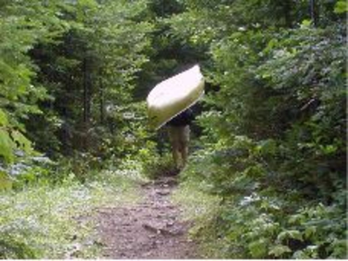 Allen and I took turns portaging the canoe.