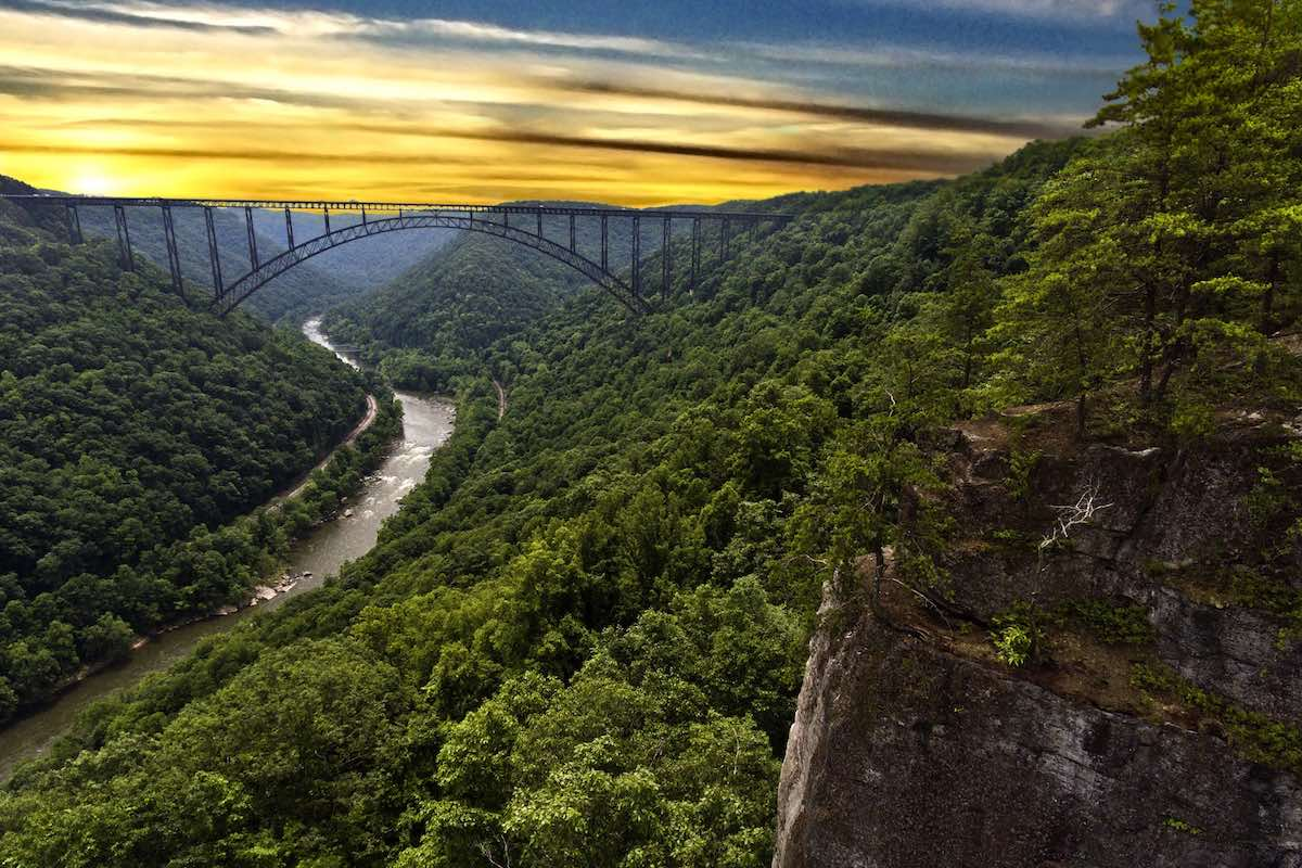 New River Gorge Bridge. Enjoy a gorgeous drive or bungee jump during Bridge Day.