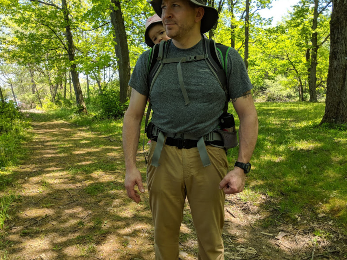Hiking with the Klik Belt with a toddler on board.