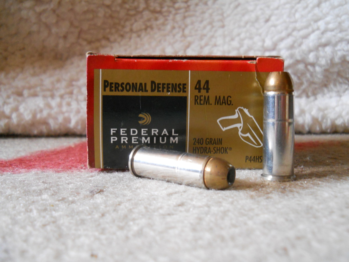 Federal 240 grain .44 Magnum Hydra-Shok.  Despite a design intended for self-defense, heavy bullet weight may cause over penetration in humans.  Recoil is still substantial.