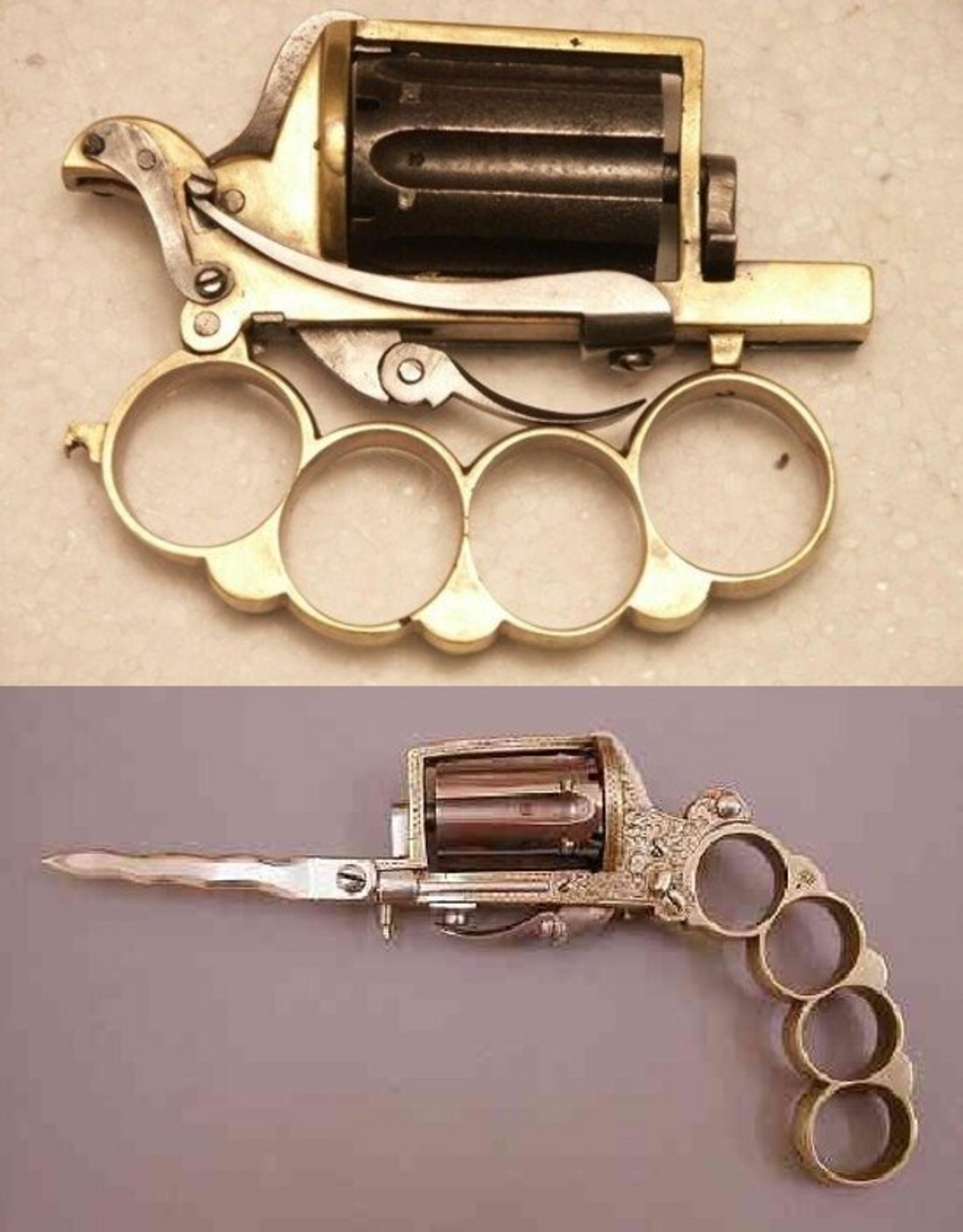 The pistol, folded and extended.