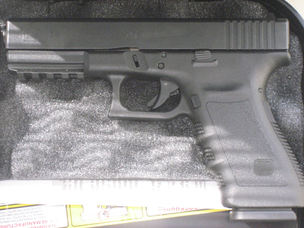 Author switched from Colt 10mm to Glock .45 ACP, like this one, due to spotty 10mm ammo availability and poor 1911 reliability with hollow-points.