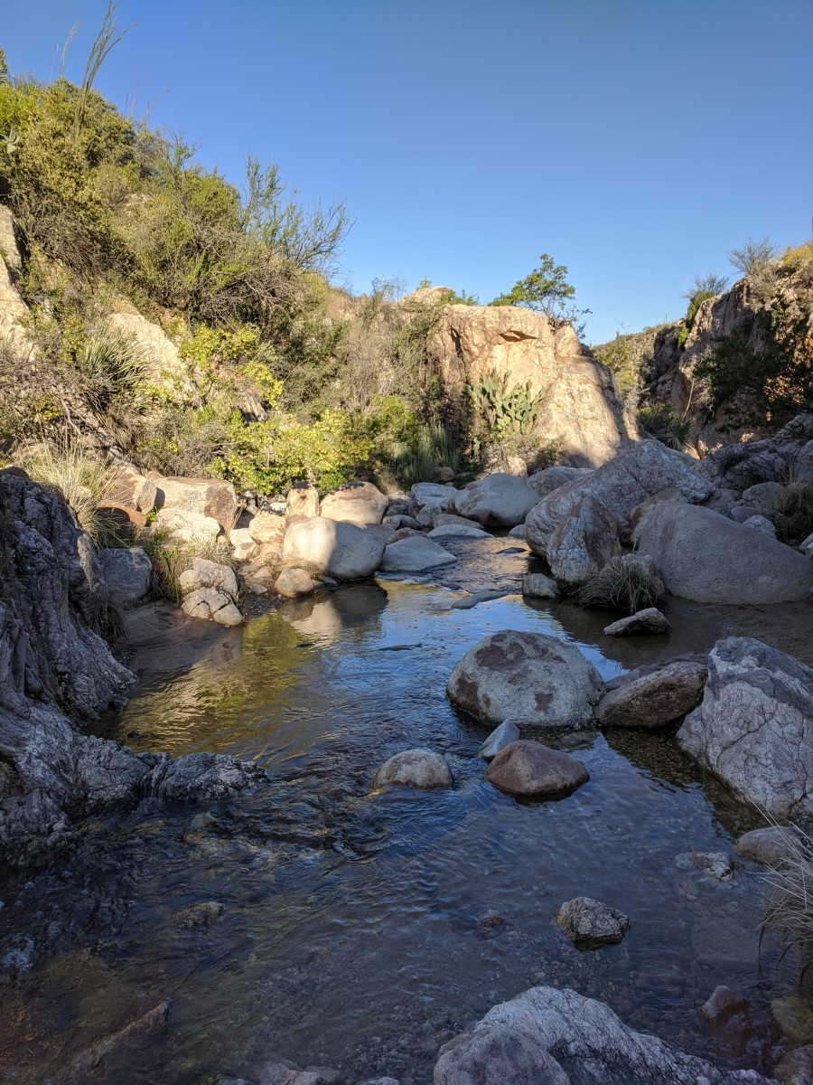 Picturesque Montrose Pools located along trail to Romero Pools in Arizona's Catalina State Park