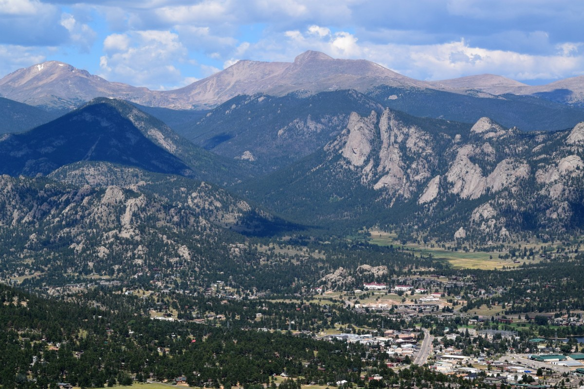 View of Estes Park and the Stanley Hotel from the trail to Kruger Rock.