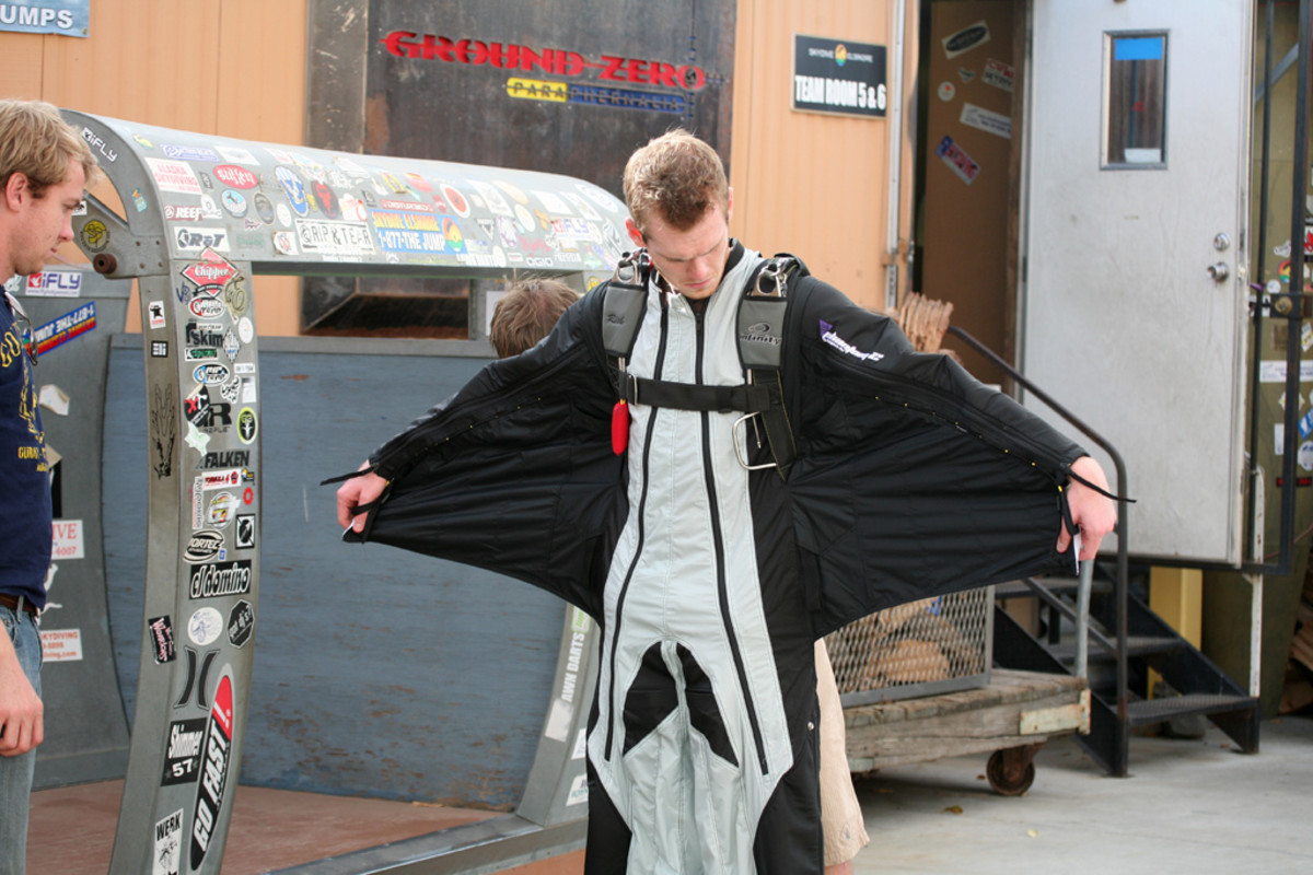 A novice gets used to his wingsuit on a First Flight Course.