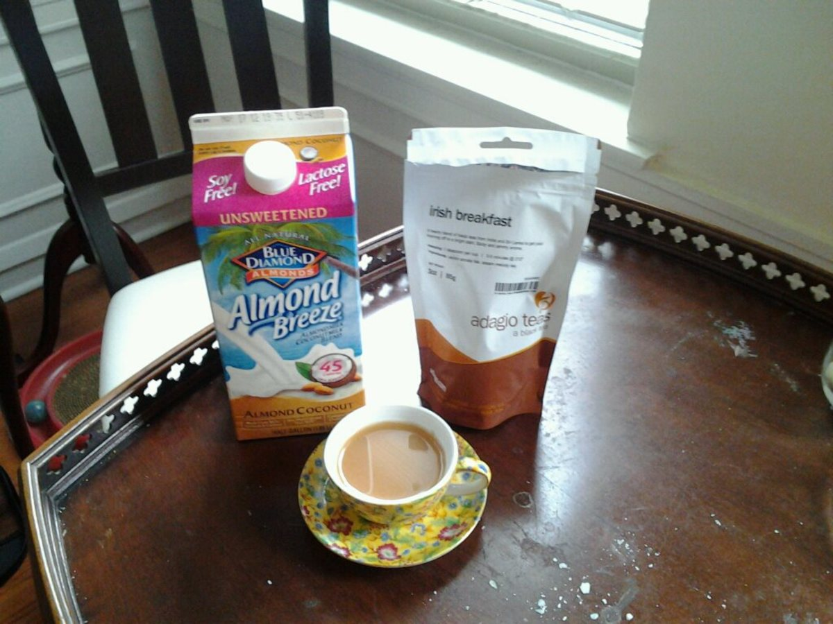 Blue Diamond Almond Coconut milk in Irish Breakfast tea.
