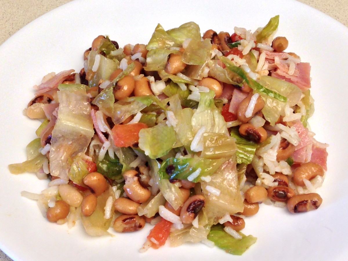 Hoppin John Salad.  This is less than a serving.  The servings are huge!
