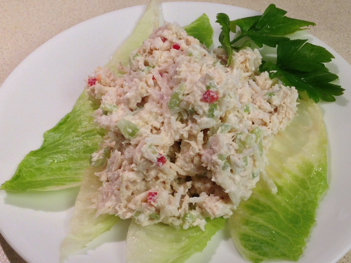 Weight Watchers Turkey Rice Salad, pictured here made with chicken.  This is an actual portion size.  Very large serving!