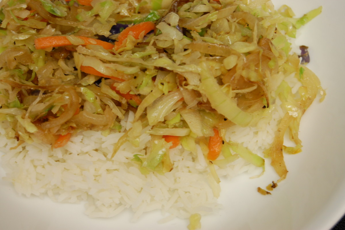 Stir-fry with rice (no meat).