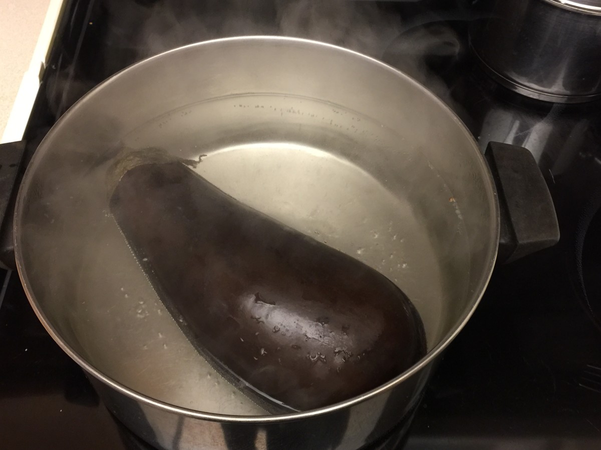 Blanch halves in boiling water 4 minutes