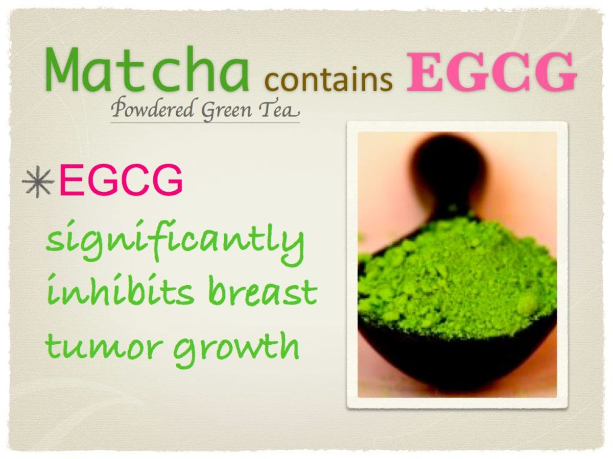 Matcha, a powdered green tea, naturally contains EGCG, which has been proven to inhibit breast tumor growth and remove free radicals
