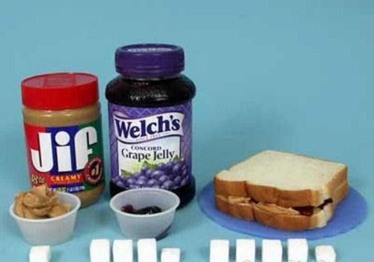 PBJ = 16 g sugar + bread