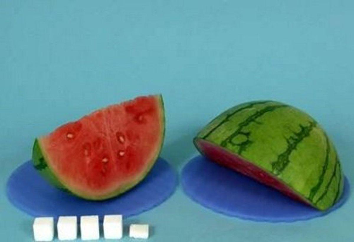 1 slice watermelon = 18 g sugar