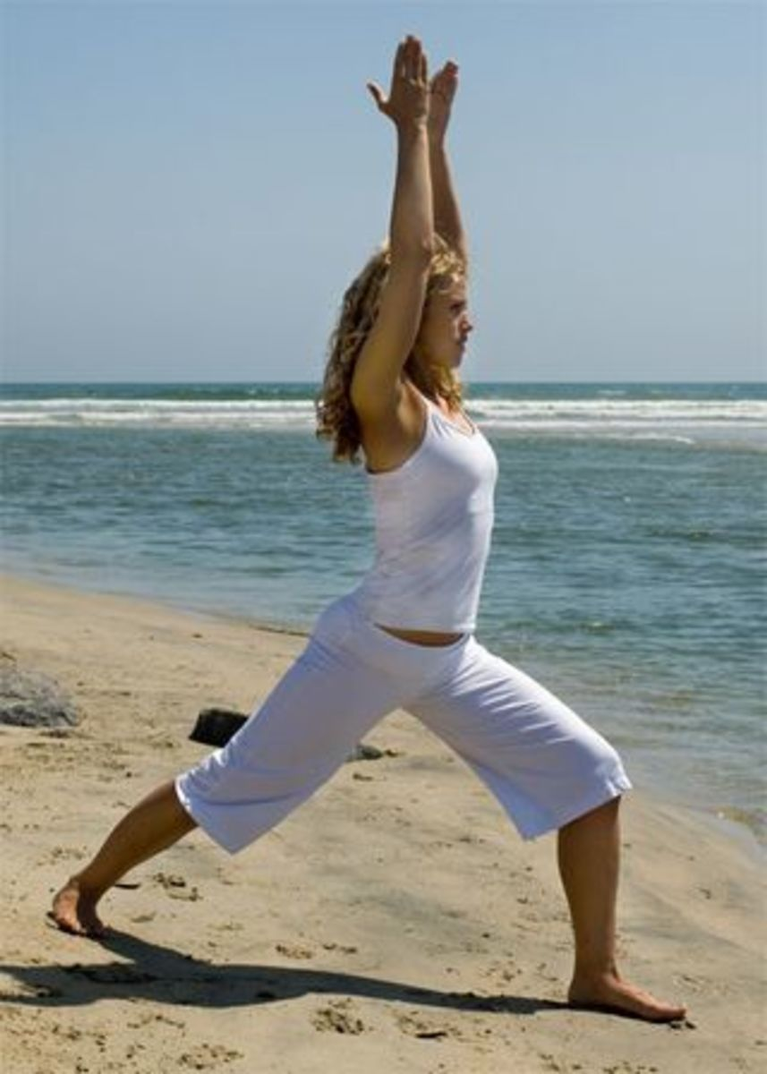 Warrior 1 pose: strong, stable, and forward-looking.
