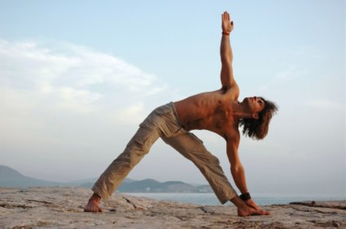 Triangle pose: a simple, heart-opening side stretch.