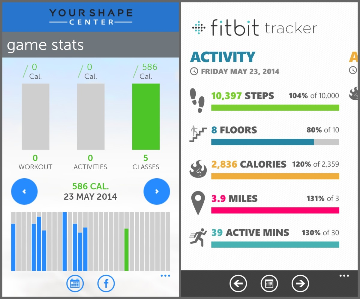 Side by Side screen shots of my Your Shape Game app (left) and my Fitbit app (right).