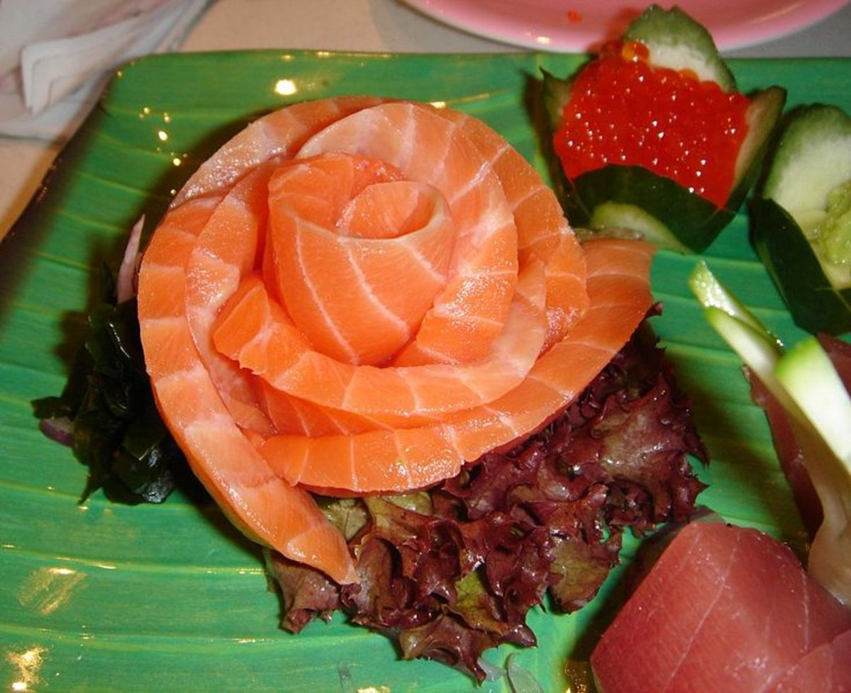 Salmon contains heart-healthy omega-3 fatty acids. This is salmon sashimi, which is made from raw fish.