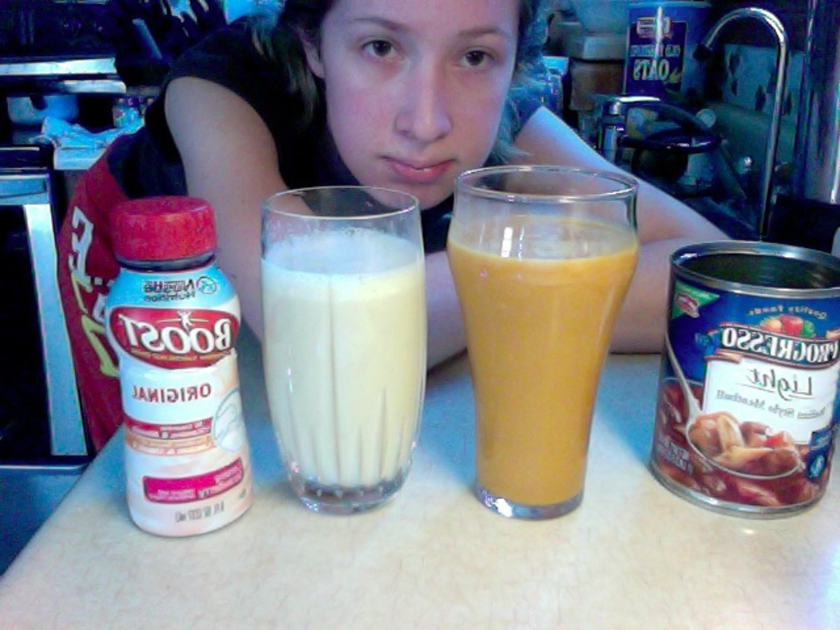 Two of my meals for the day, including a Boost nutritional drink, and a glass of Progresso soup. I think I was a little malnourished by this point, and that probably explains the creepy expression.