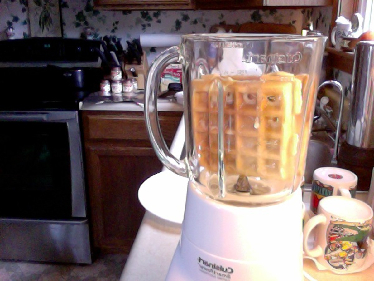Bye, bye, waffle...into the blender it goes!