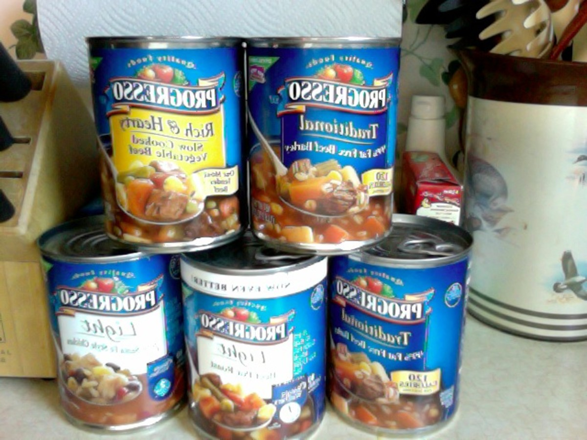 My stock of Progresso soups. These soups are very hearty, and still quite flavorful when blended.