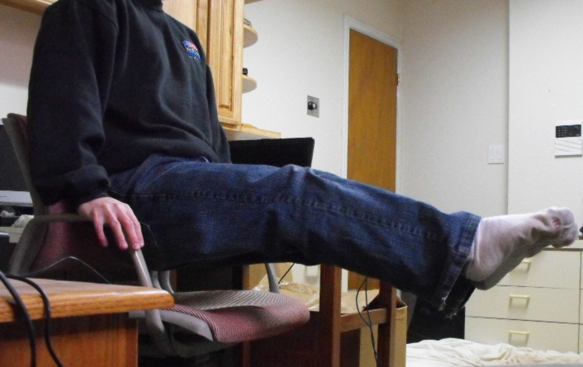 Me doing an L-sit in my computer chair.