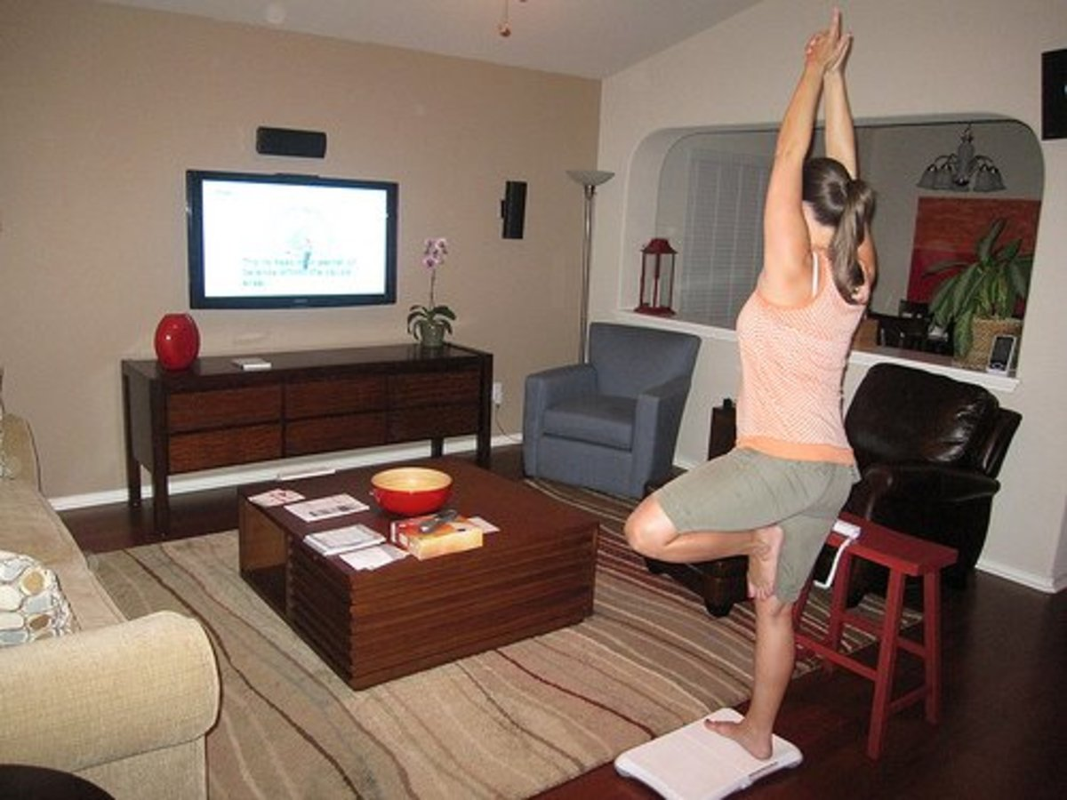 Woman stretching while doing yoga.