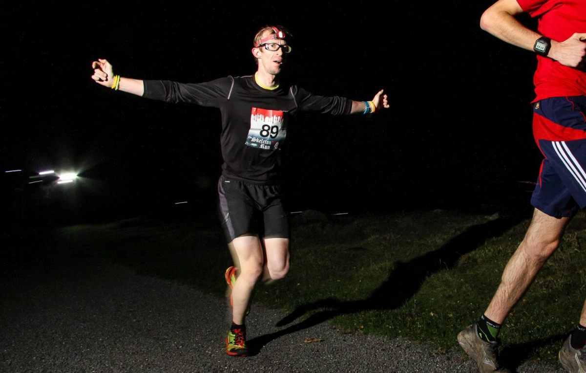 In action at the Hope Skeleton Run, a 5 mile night run wearing headtorches. CyclingFitness finished 19th in the event wearing a pair of Mizuno Wave Ascend 8 shoes