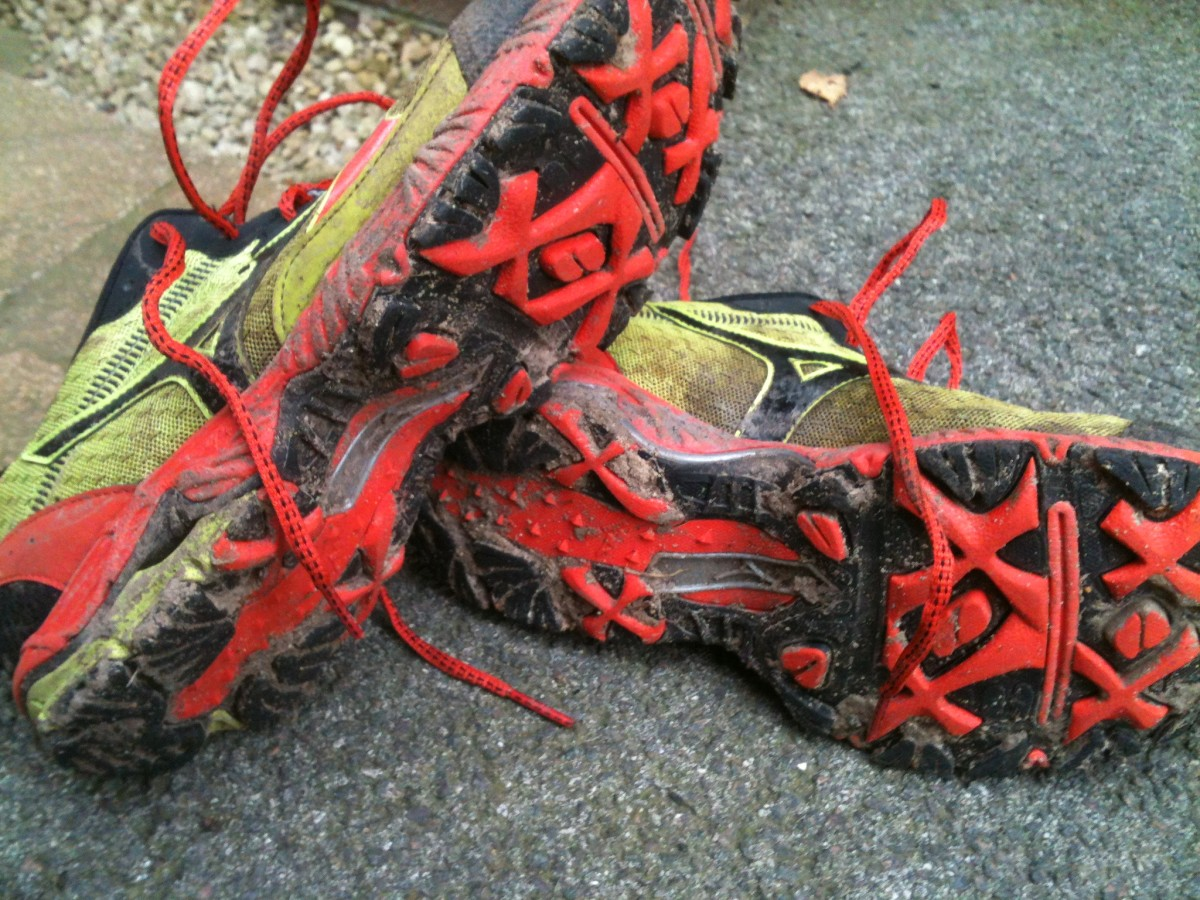 The aggressive X sections of the Mizuno Wave Ascend 8's tread pattern are designed to really dig into mud and loose dirt