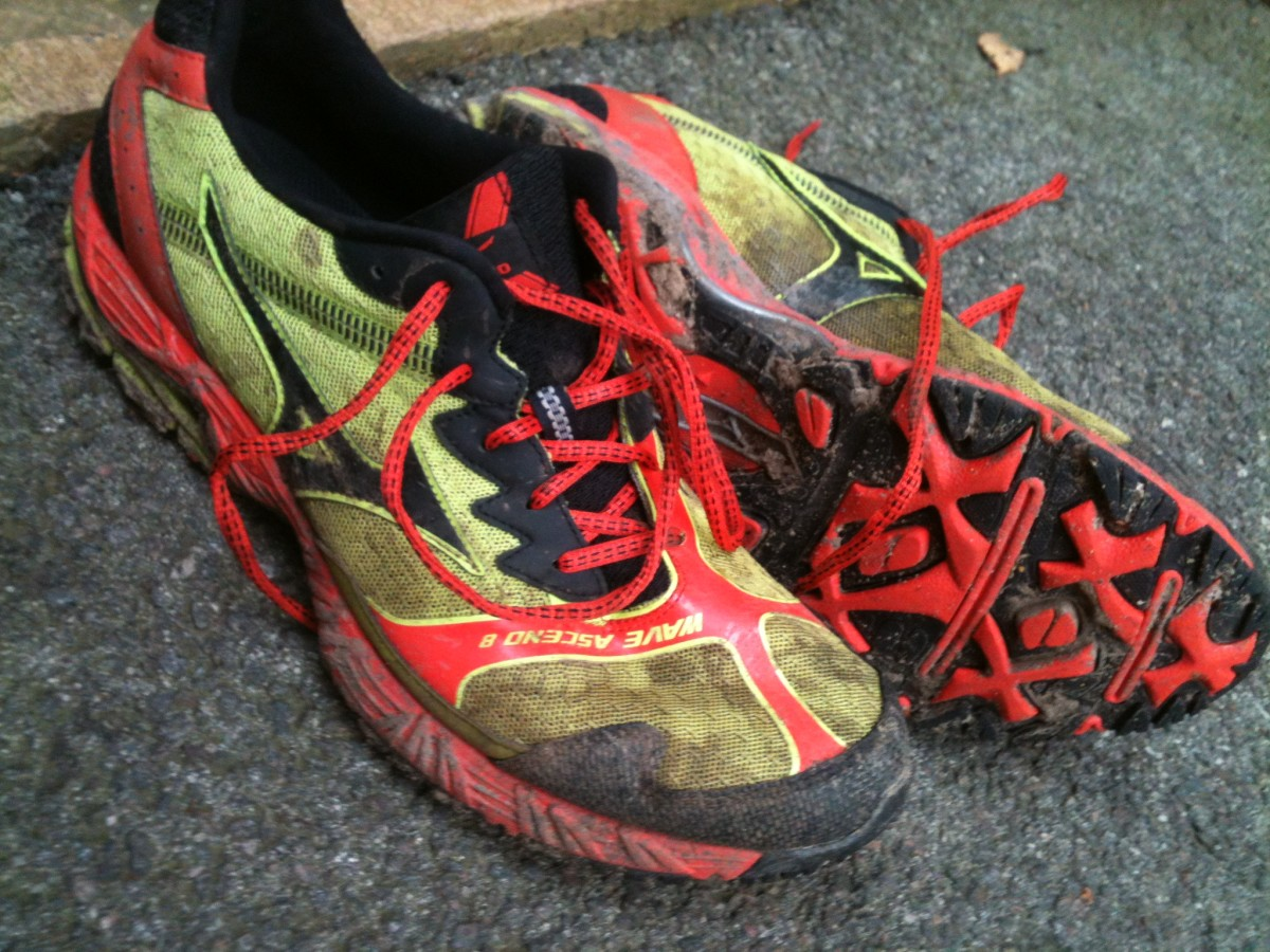 My Mizuno Wave Ascend 8's after a series of muddy runs