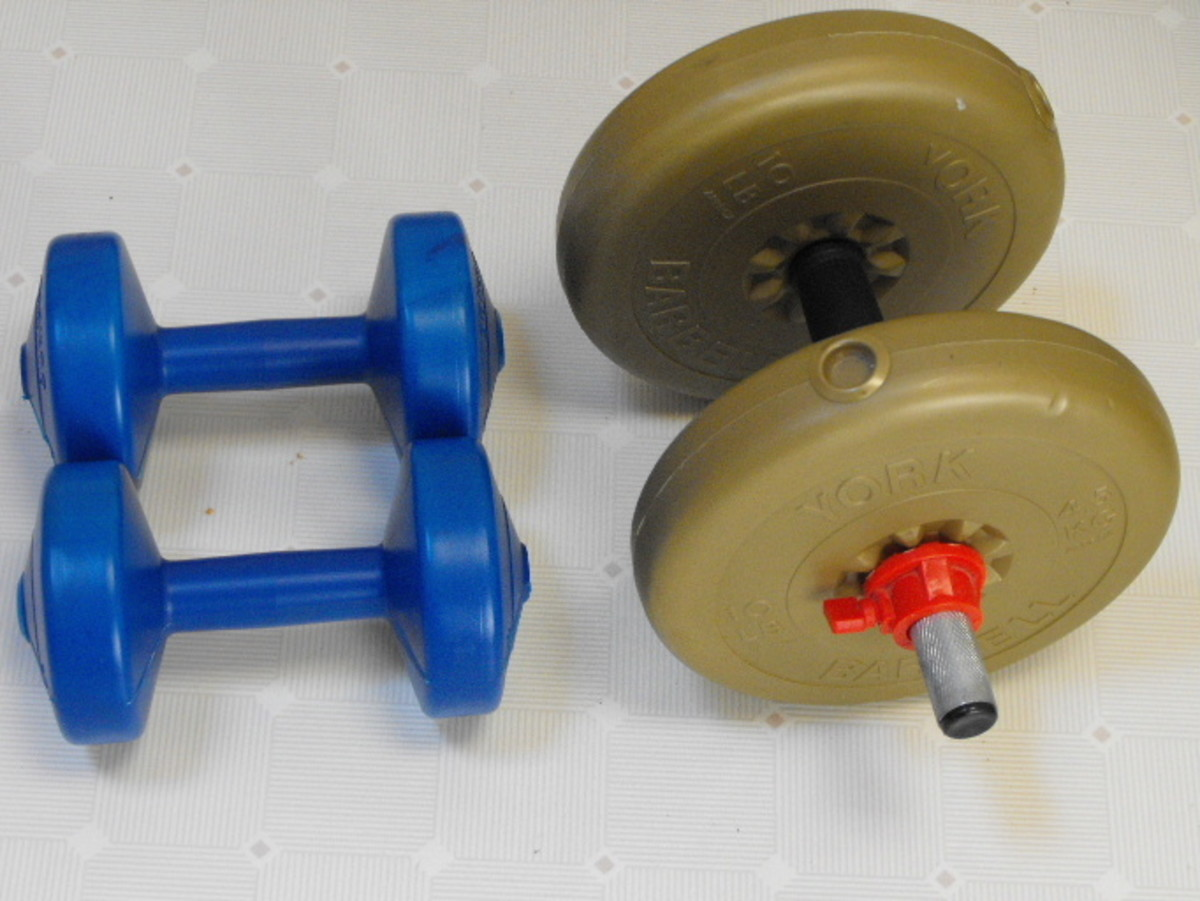 Light weight and medium weight dumbbells