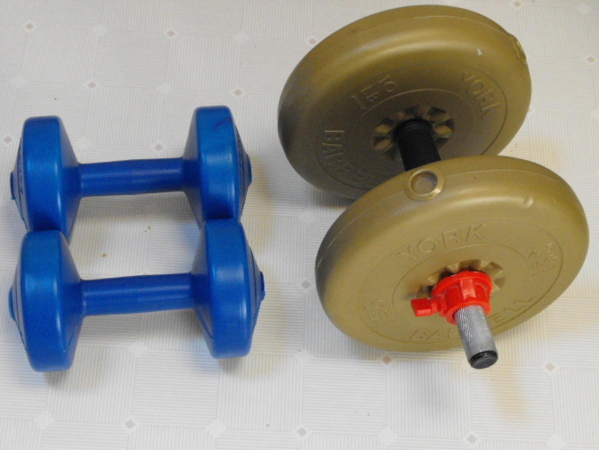 Light weight and medium weight dumbbells
