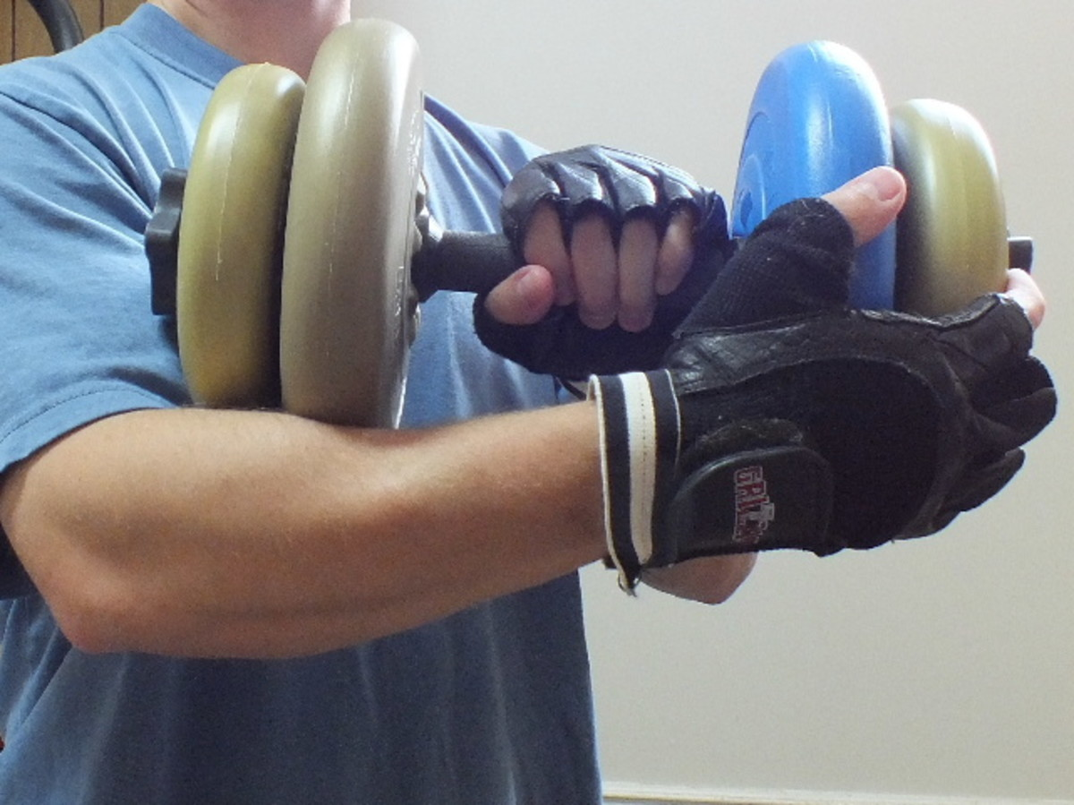 Negative training with overhand dumbbell curls. Getting back into the raised position.