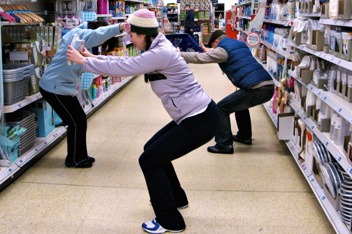 Squats in the supermarket.