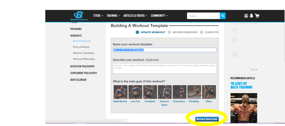 How To Create A Workout Template In Bodyspace  Caloriebee