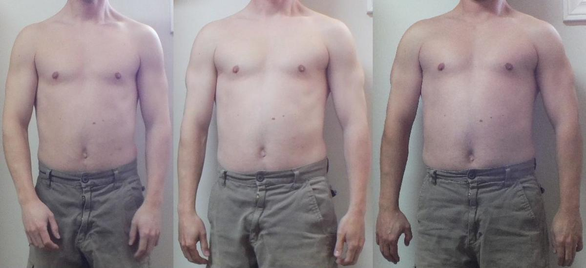 Before and after 100 push-ups a day and after doing difficult push-ups for 3 months.