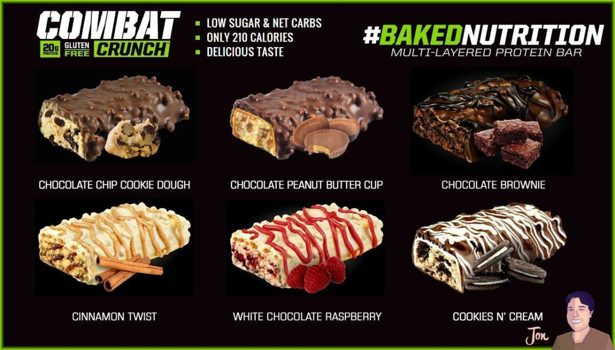 Different flavors of MusclePharm Combat Crunch Bars.