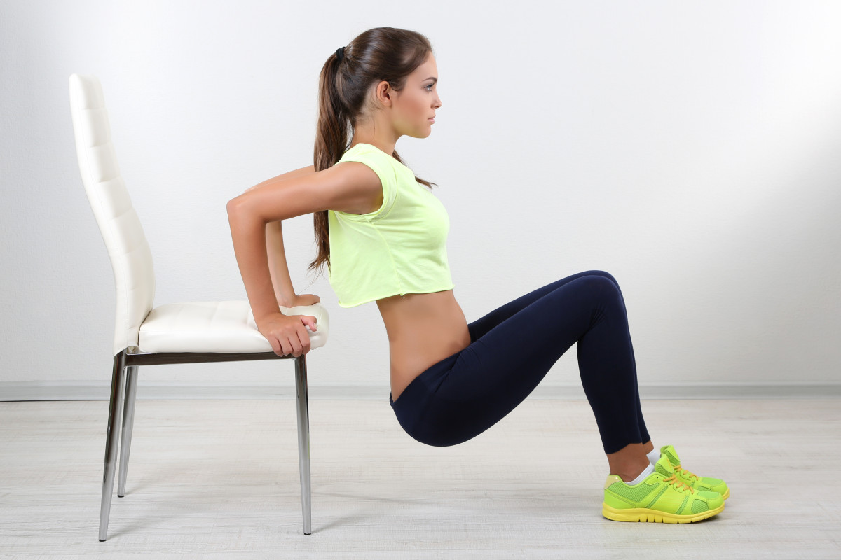 Dips: A triceps strength and toning exercise, often used to reduce upper arm flab.