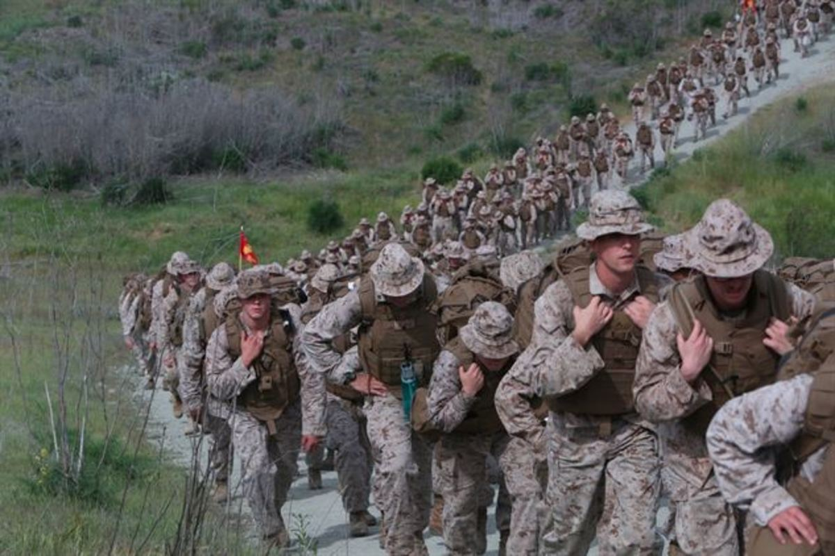 U.S. Marines conducting a conditioning hike.