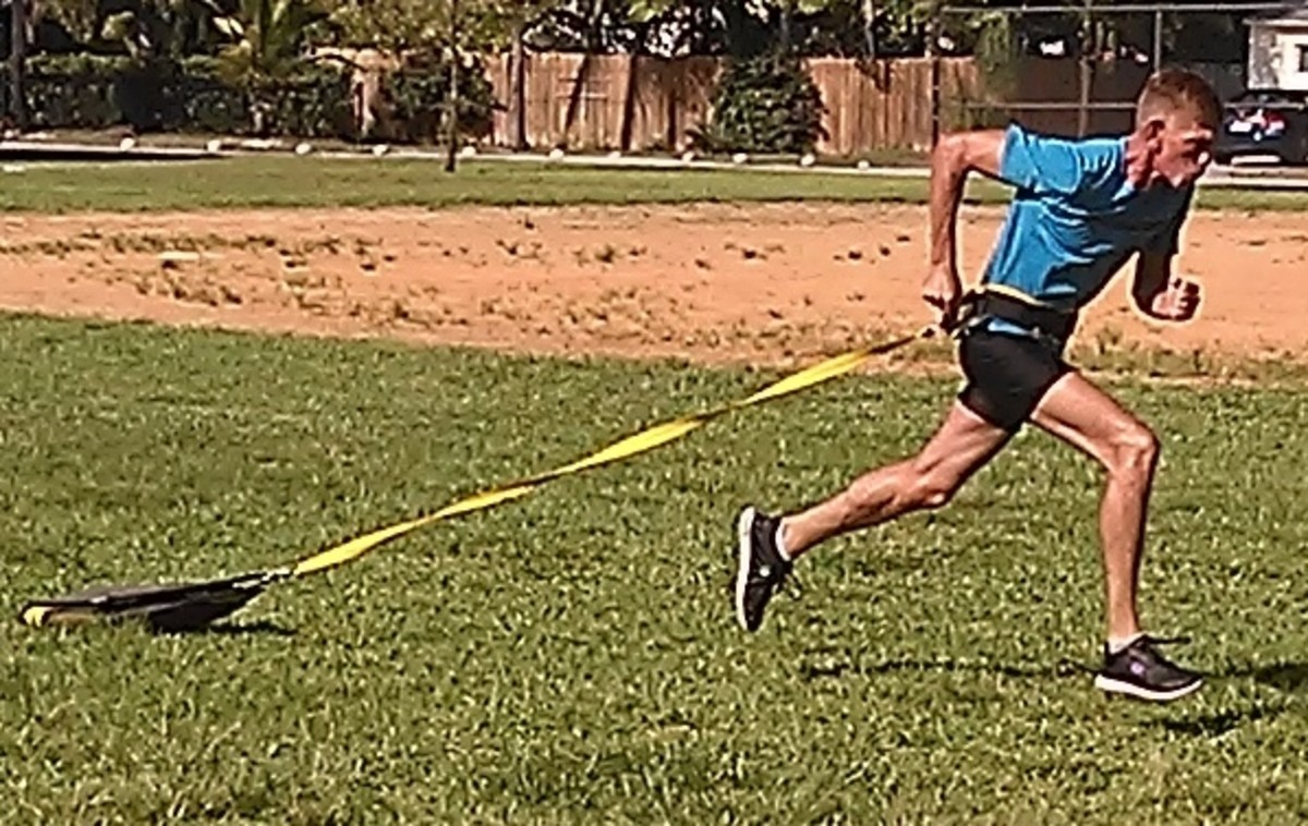 Loaded sprints using a light sled.