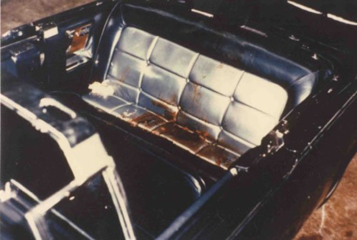 In this photo is the bloody back seat where president Kennedy was killed.